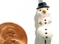Clay Beads 20 x 9mm Christmas snowman clay