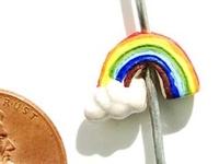 Clay Beads 9 x 13mm rainbow & cloud rainbow clay