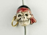 Image Clay Beads 13 x 14mm pirate skull with earring clay