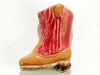 Clay Beads 14 x 10mm cowboy boot pink clay