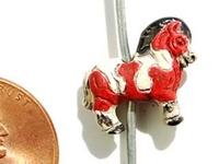 Image Clay Beads 12 x 15mm horse brick red & white  clay