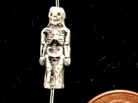 Image Clay Beads 17 x 6mm skeleton clay