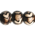 Bone Beads 8-10mm round white & brown bone