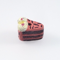 Image Clay Beads 12 x 8mm chocolate cake with strawberry frosting clay