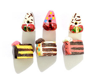 Image Clay Beads 12 x 8mm cake slices - assorted shapes and colors clay