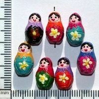 Clay Beads 16 x 9mm Russian Nesting Dolls assorted clay