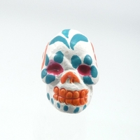 Clay Beads 9 x 12mm day of the dead sugar skull white with teal and orange clay