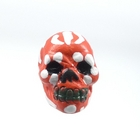 Clay Beads 9 x 12mm day of the dead sugar skull rich red with white clay