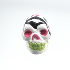 Clay Beads 9 x 12mm day of the dead sugar skull white with pink clay