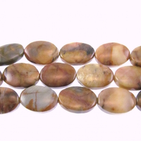 Venus Jasper 10 x 14mm oval shades of brown and grey