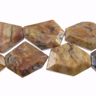 Venus Jasper 22 x 30mm faceted hexagon shades of brown and grey