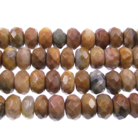 Venus Jasper 8mm faceted rondell shades of brown and grey