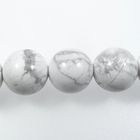White Howlite 10mm round white with grey streaks