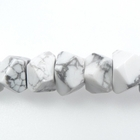 White Howlite 7 x 12mm faceted nugget white with grey streaks