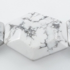White Howlite 25 x 30mm faceted hexagon white with grey streaks