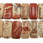 White Lace Red Jasper 10 x 20mm double drill rectangle mixed colors