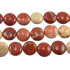 White Lace Red Jasper 12mm coin mixed colors
