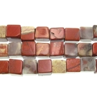 White Lace Red Jasper 6mm cube mixed colors