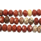 White Lace Red Jasper 8mm faceted rondell mixed colors