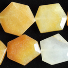 Yellow Jade 22 X 30mm faceted hexagon rich yellow